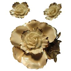 Old Coro Signed White Flower Pin Brooch and Earring Set