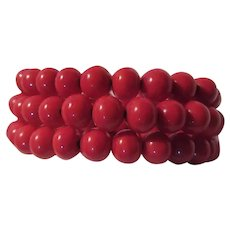 Red Glass Beads Wired Old Bracelet
