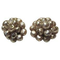 Faux Pearls Cluster Clip Earrings