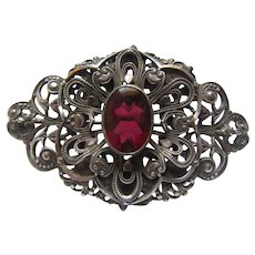 Silver Tone Metal Brooch Red Stone