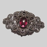 Very Old Brooch Silver Metal Red Stone