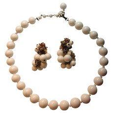 Miriam Haskell White Necklace Clip Earring Set
