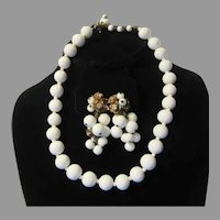 Miriam Haskell White Beads Necklace Clip Earring Set