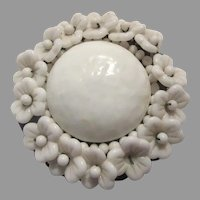 Miriam Haskell White Brooch Pin Flower Bloom