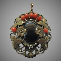 Victorian Pendant With Black and Coral