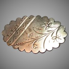 Victorian Gold Filled Pin Brooch Engraved