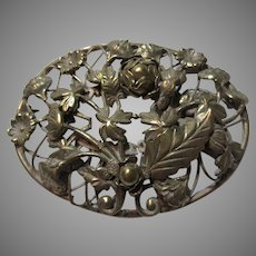 Large Old Brooch Pin Gold Tone Flowers Leaves