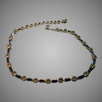 Kramer N.Y, Rhinestone and Sapphire Blue Stones Choker Necklace