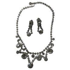 Rhinestone Fine Necklace Clip Earring Set Demi-Parure