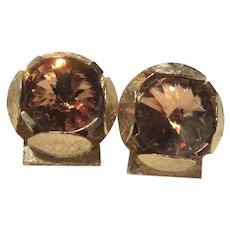 Cufflinks Yellow Topaz Glass Sparkly Stones