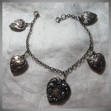Sterling Puffy Hearts Bracelet