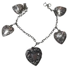 Old Sterling Silver Puffy Hearts Bracelet