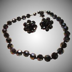 Vogue Black Iridescent Glass Facet Beads Necklace and Clip Earrings