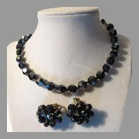Signed Vogue Iridescent Peacock Black Blue Glass Beads Necklace Clip Earrings Set