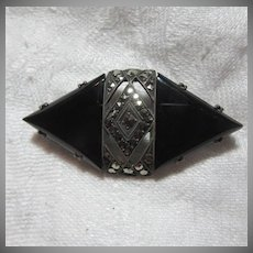 Marcasite Black & Sterling Pin