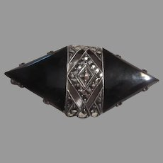 Sterling Silver Black Onyx Marcasites Pin Brooch