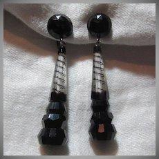 Black & Clear Art Glass Long Drop Earrings