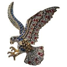 Eagle Bird Pin Brooch Red Blue Silver Rhinestones