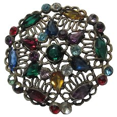 Old Filigree Brooch Colored Stones