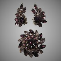 Purple Violet Large Glass Stones Brooch Pin Earring Set Demi Parure