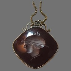 Carnelian Carved Cameo Pendant On Chain