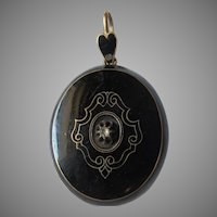 Victorian Black Enamel Locket Pendant
