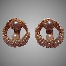 Hobe Signed Faux Pearl Clip Earrings