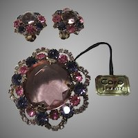 Old Coro Violet Pink Purple Stones Brooch Pin Earring Set Demi Parure