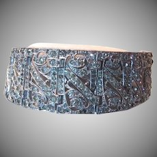 Pave Rhinestone Wide Bracelet