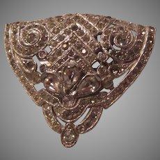 Fabulous Old Rhinestone Clip Brooch PIn