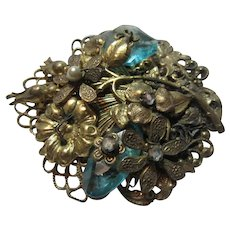 Old Brooch Flowers Deep Aqua Blue Green Stones Wired Construction