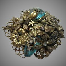Old Brooch Flowers Green Stones Wired Construction