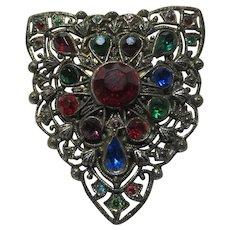 Old Brooch Clip Multicolor Stones In Filigree Metal