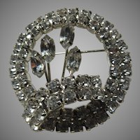 Rhinestone Brooch Pin Circle With Flower