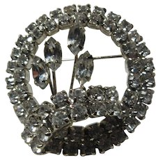 12cf46131 Rhinestone Brooch Pin Circle With Flower. Antiques Jewelry & Sacred  Treasures
