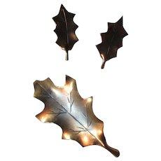 Copper Over Sterling Leaf Leaves Pin Screw Back Earrings Set