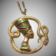 Snake & Egyptian Style Head Pendant Necklace