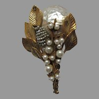 Miriam Haskell Brooch Gold Tone Metal Faux Pearl Flower Pin