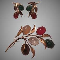 Gold Filled Real Stones Scarab PIn Brooch And Screw Back Earrings