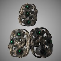 Art Nouveau Dress Clip and Buckle Set Green stones