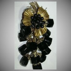 Gold Tone & Black Flower Spray Unusual Brooch