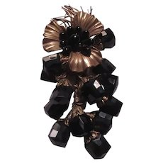 Unusual Black Glass & Gold Metal Large Flower Pin Brooch