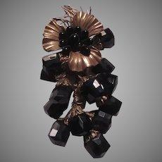 Unusual Black Glass & Gold Metal Large Flower Pin Brooch