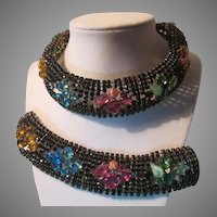 Faux Jeweled Choker Collar Bracelet Set Black With Colors