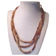 Yellow Topaz Faceted Gemstones Beads Necklace
