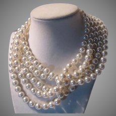 Very Long Simulated Pearls Rope Necklace Japan