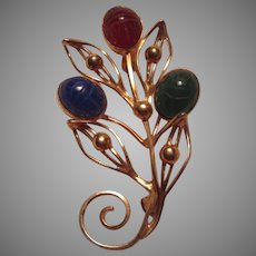 Gold Filled Real Stones Scarab Pin