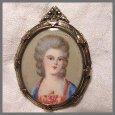 Miniature Portrait Brooch Elegant Lady Jewelry Art