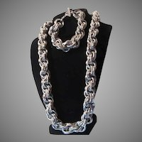 Coro Silver Tone Metal Necklace Bracelet Set