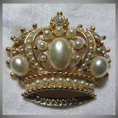Vintage Crown Pin Faux Pearls
